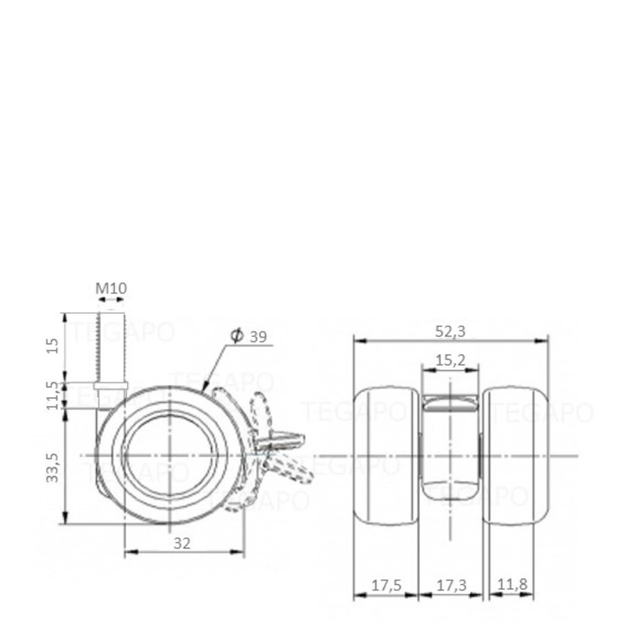PATPLOW wiel 39mm bout M10x15 met rem