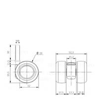 PATPLOW wiel 39mm bout M8x30