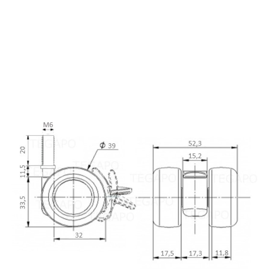 PATPLOW wiel 39mm bout M6x20 met rem