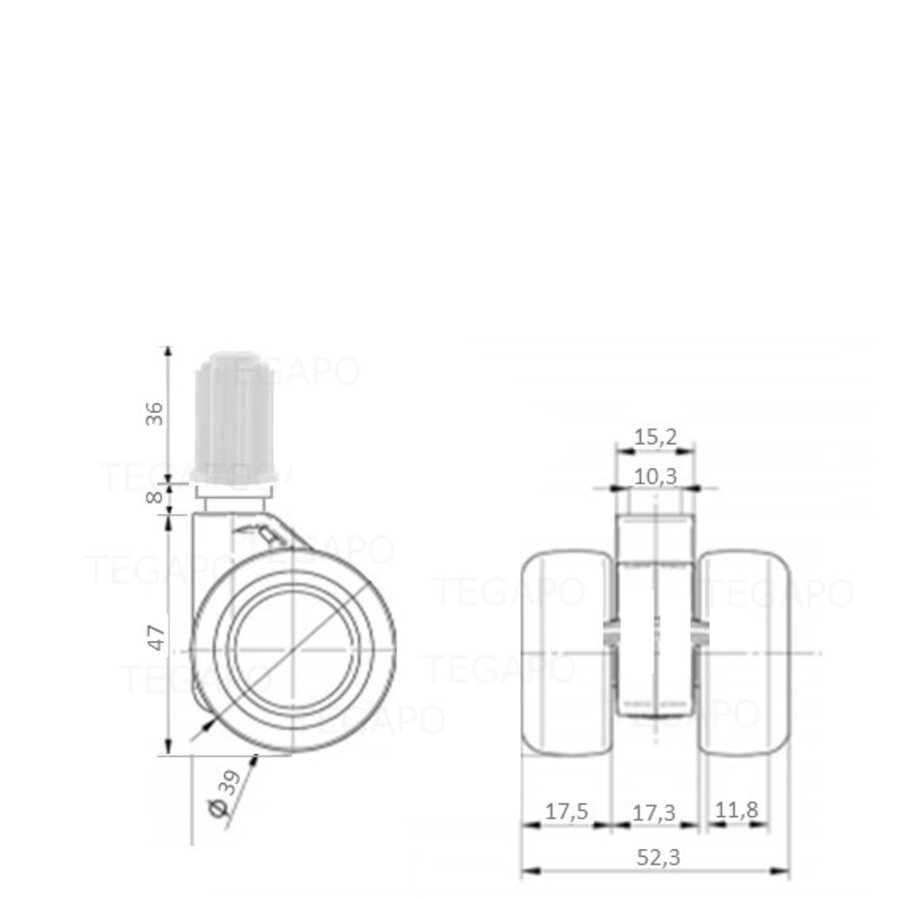 PATPHIGH wiel 39mm plug 19mm