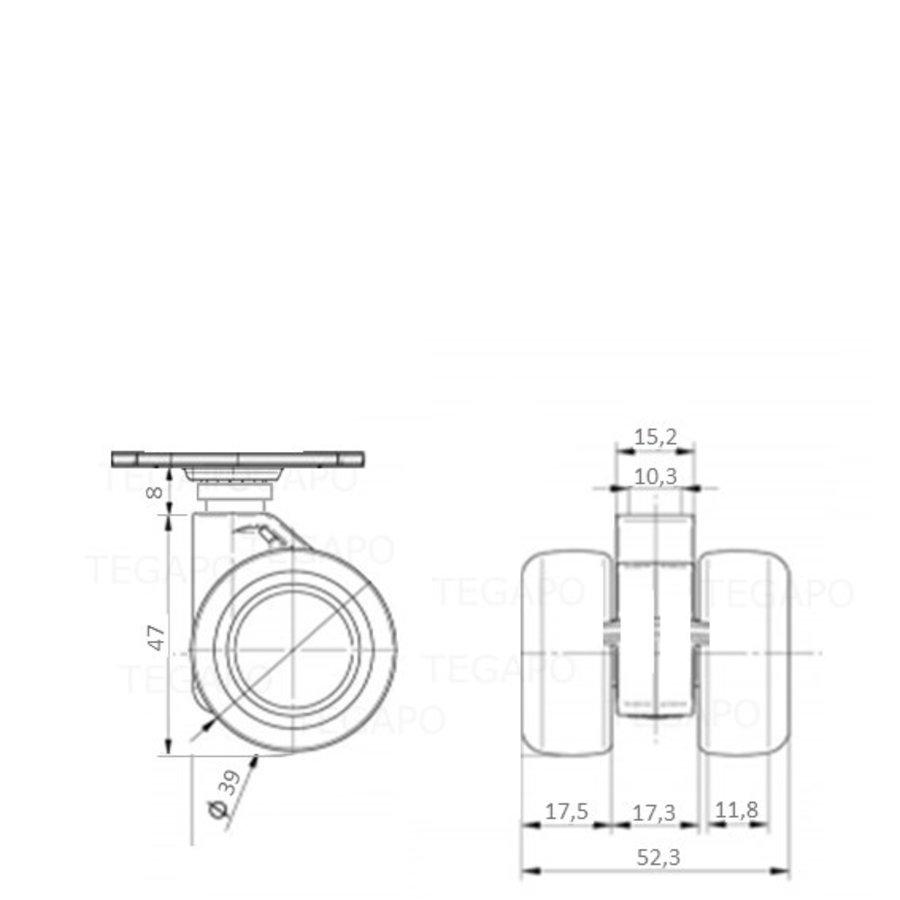 PATPHIGH wiel 39mm plaat 42x42mm