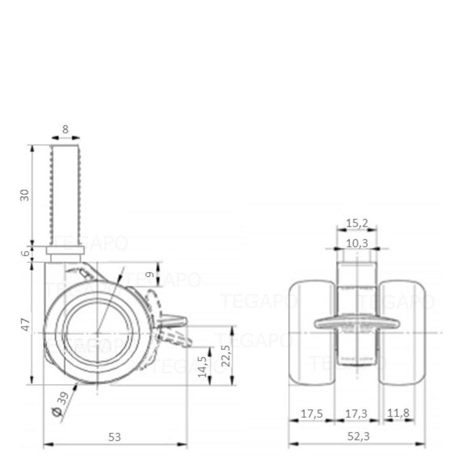 PATPHIGH wiel 39mm bout M8x30 met rem
