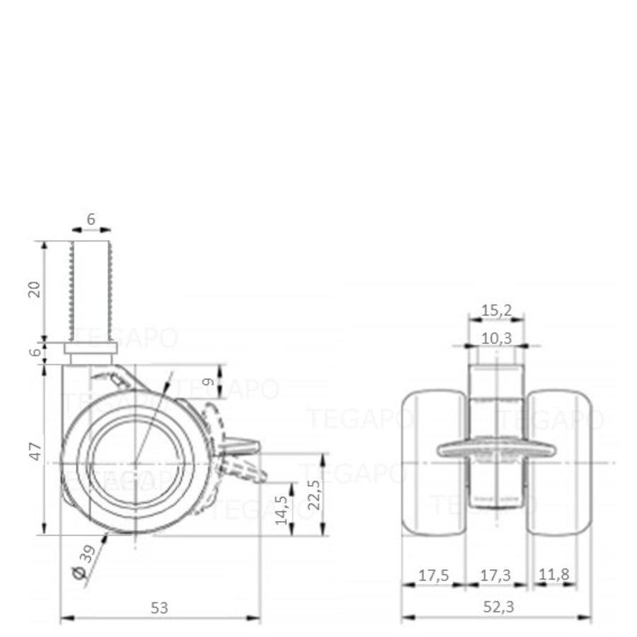 PATPHIGH wiel 39mm bout M6x20 met rem