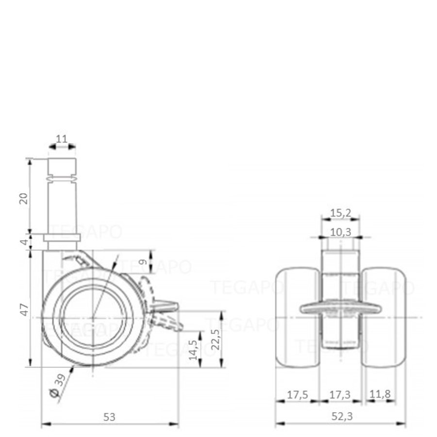 PATPHIGH wiel 39mm stift 11mm met rem