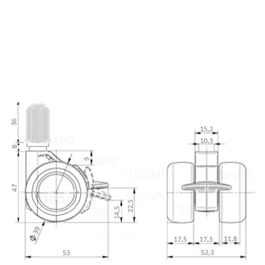 PATPHIGH wiel 39mm plug 16mm met rem
