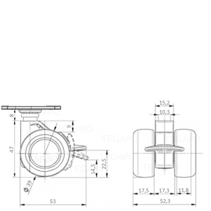 PATPHIGH wiel 39mm plaat 38x38mm met rem