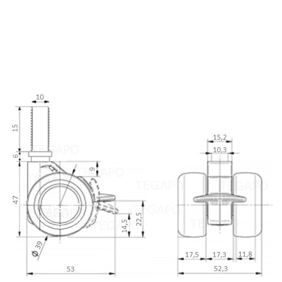 PATPHIGH wiel 39mm bout M10x15 met rem