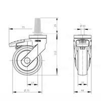 SYTP zwart afdekkap wiel 75mm plug rond staal 13mm met rem