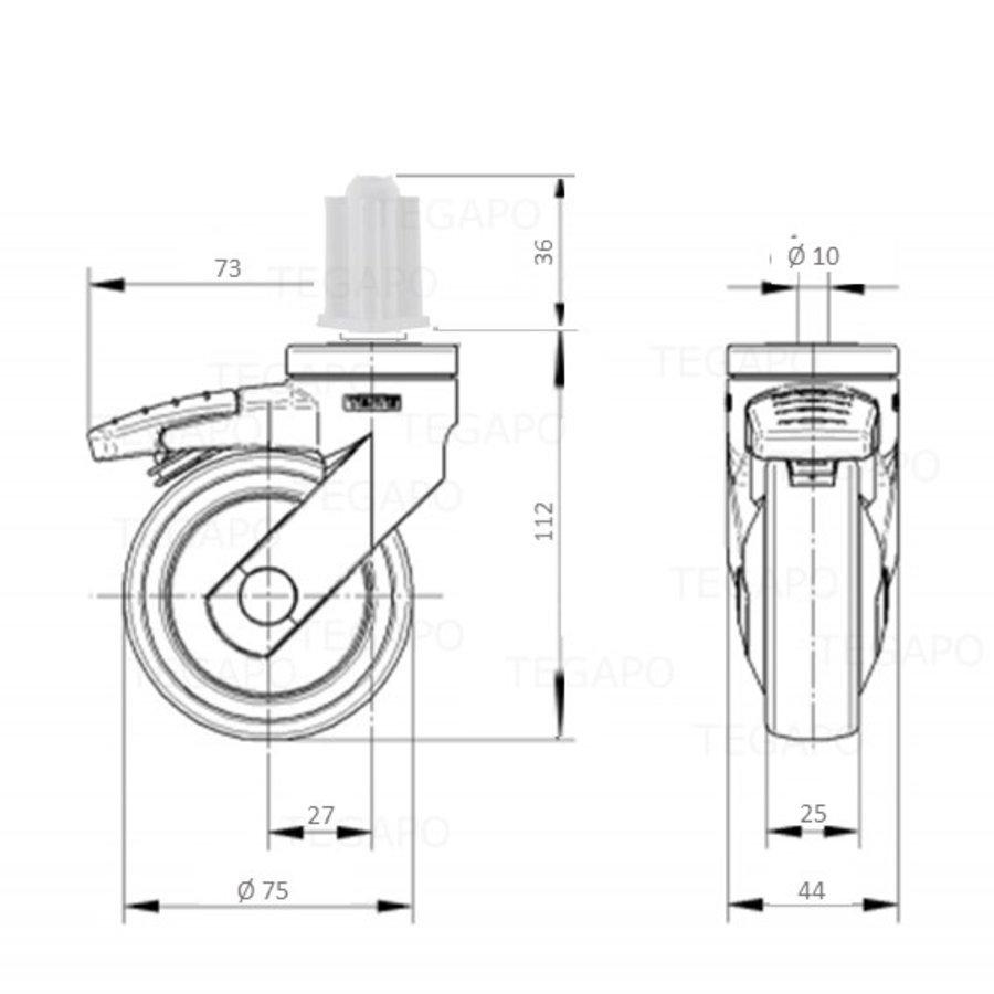 SYTP zwart afdekkap wiel 75mm plug vierkant 22mm met rem