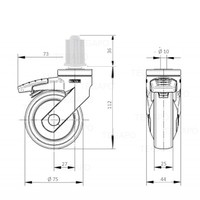 SYTP zwart afdekkap wiel 75mm plug vierkant 18mm met rem