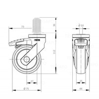 SYTP zwart afdekkap wiel 75mm plug rond 15mm met rem