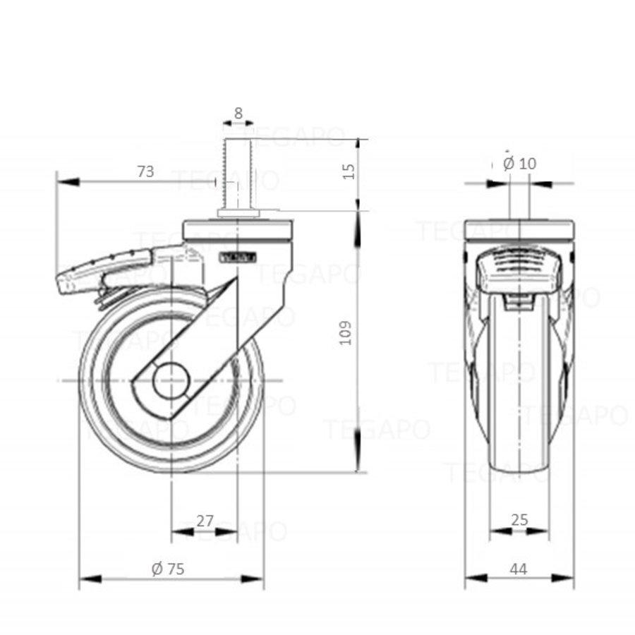 SYTP zwart afdekkap wiel 75mm bout M8x15 met rem