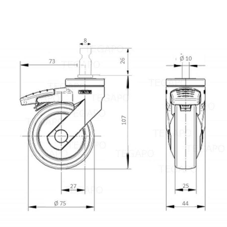 SYTP zwart afdekkap wiel 75mm stift 8mm met rem