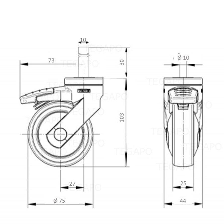 SYTP zwart afdekkap wiel 75mm stift 10mm (30) met rem