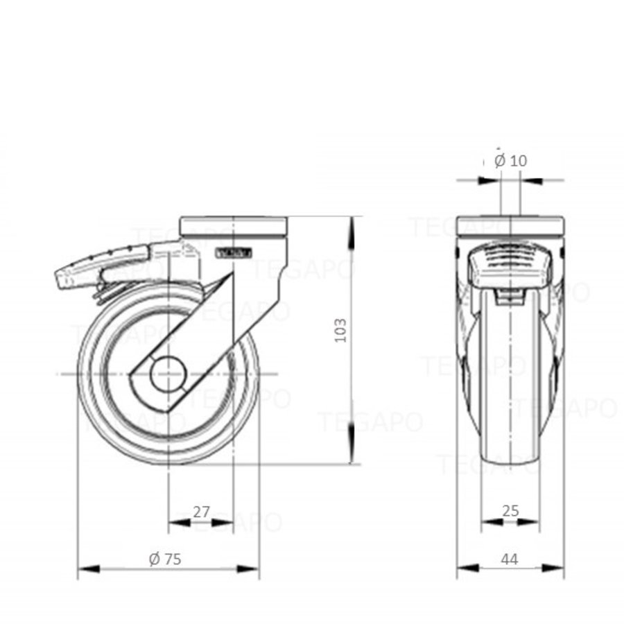 SYTP zwart afdekkap wiel 75mm met rem