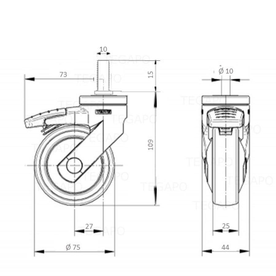SYTP afdekkap wiel 75mm bout M10x15 met rem
