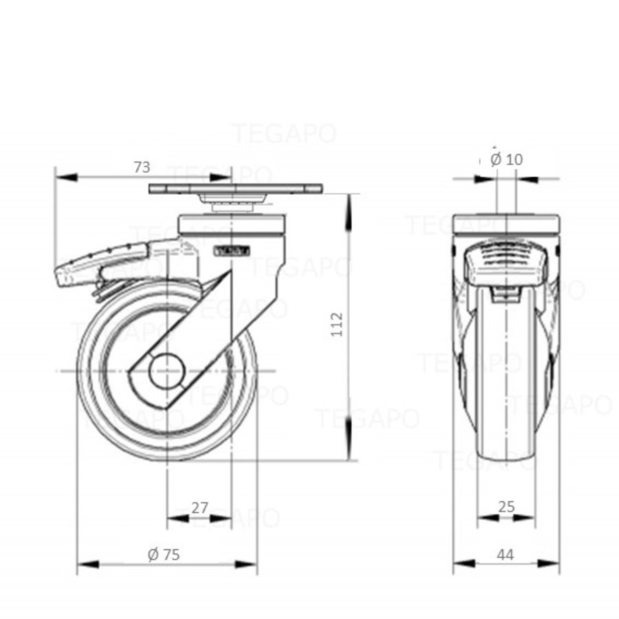 SYTP afdekkap wiel 75mm plaat 42x42mm met rem