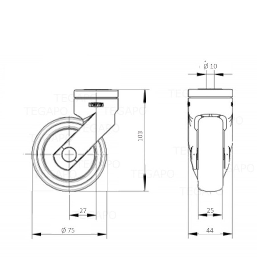 SYTP afdekkap wiel 75mm