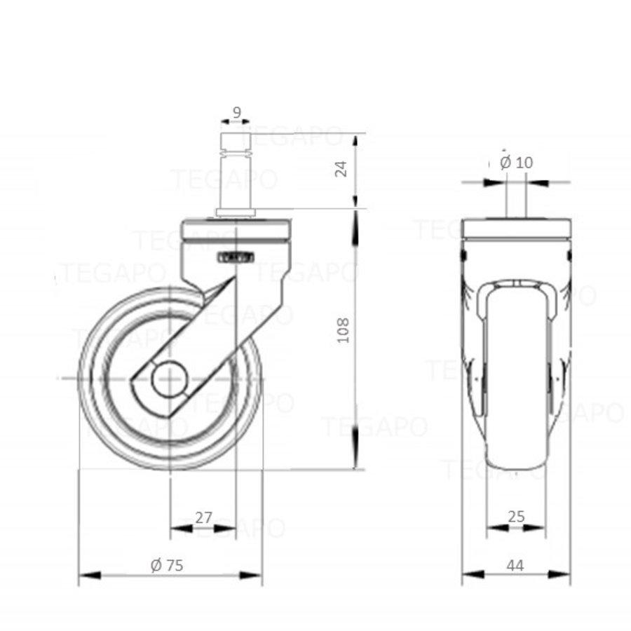 SYTP afdekkap wiel 75mm stift 9mm