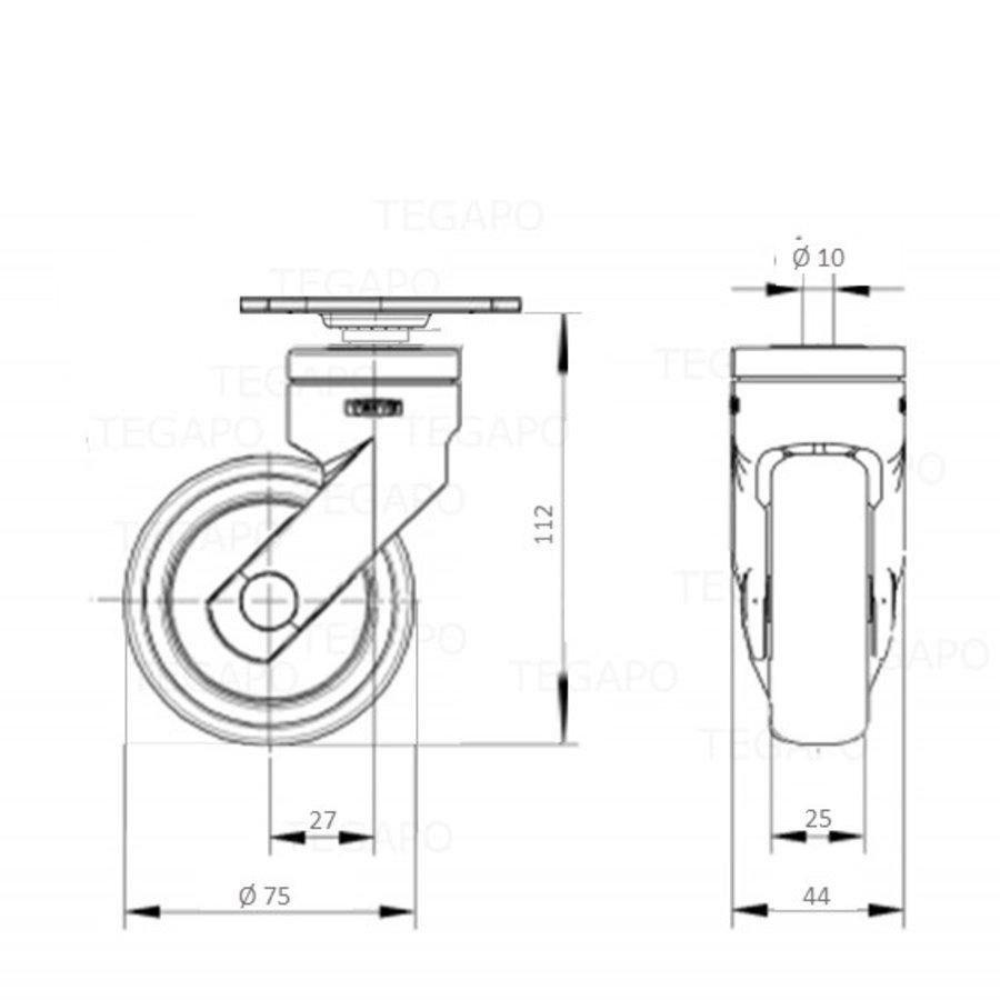 SYTP zwart afdekkap wiel 75mm plaat 42x42mm