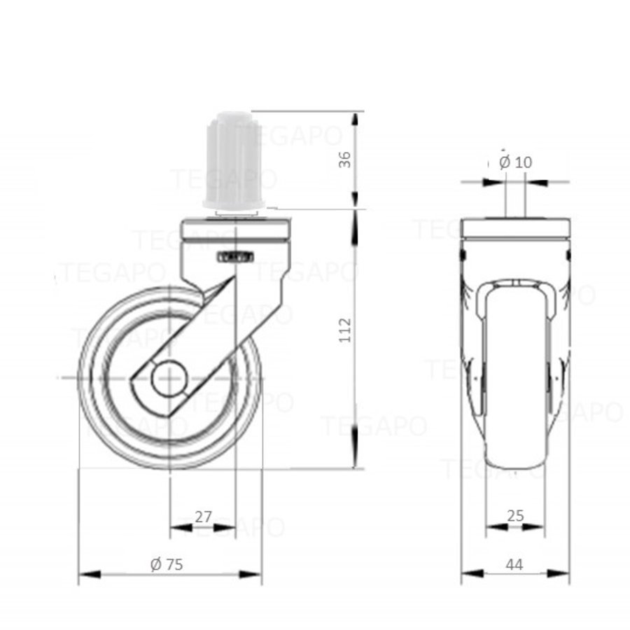 SYTP zwart afdekkap wiel 75mm plug rond 23mm
