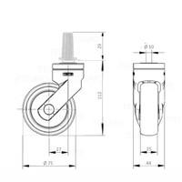 SYTP zwart afdekkap wiel 75mm plug rond staal 13mm