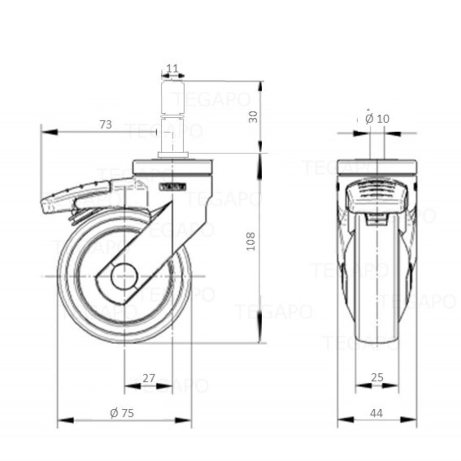 SYTP wiel 75mm stift 11x30mm met rem