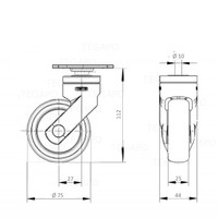 SYTP wiel 75mm plaat 42x42mm