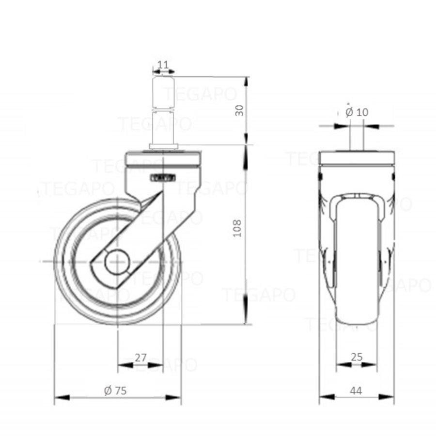 SYTP wiel 75mm stift 11x30mm