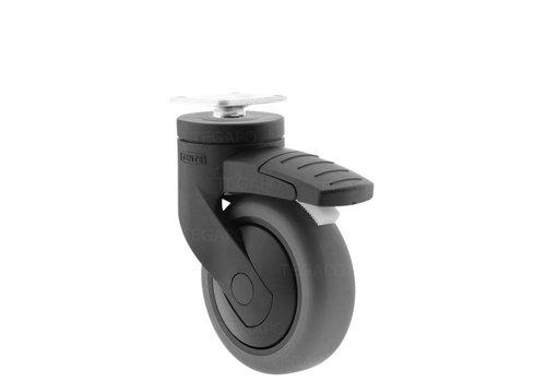SYTP zwart afdekkap wiel 75mm plaat 38x38mm met rem