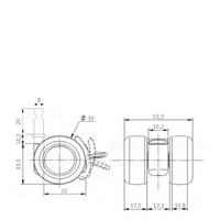 PATPLOW wiel 39mm stift 8mm met rem