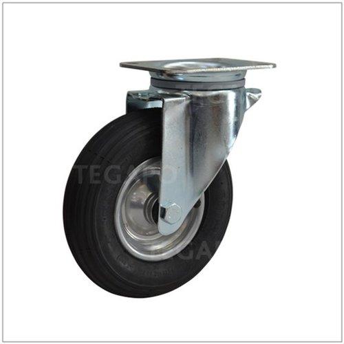 Bok- en zwenkwielen met luchtband lage bouwhoogte plaatbevestiging