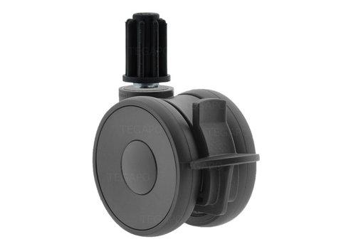 PAPU HIGH wiel 75mm plug rond 22mm met rem