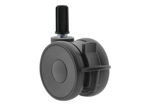 PAPU HIGH wiel 75mm plug rond 17mm met rem