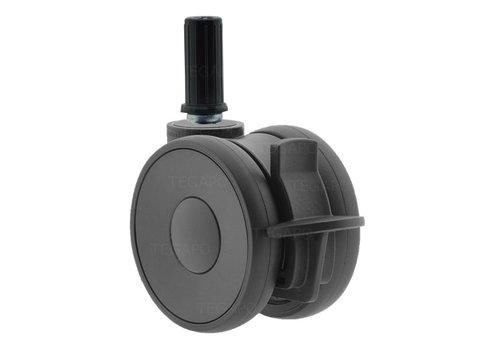 PAPU HIGH wiel 75mm plug rond 15mm met rem