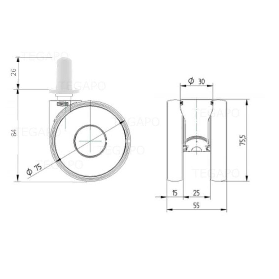 PAPU HIGH wiel 75mm plug rond kunststof 13mm