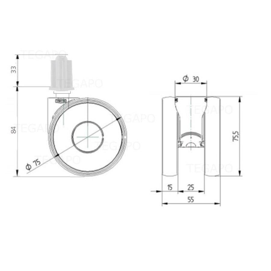 PAPU HIGH wiel 75mm plug vierkant 18mm