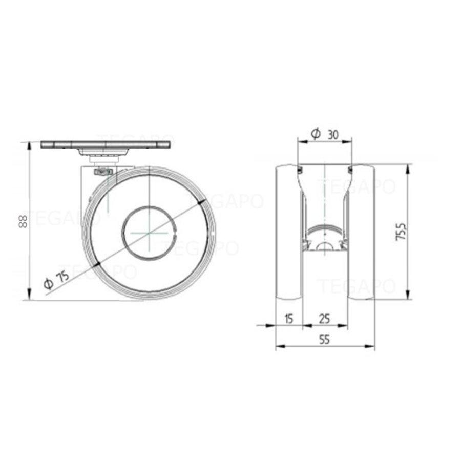 PAPU HIGH wiel 75mm plaat 42x42mm