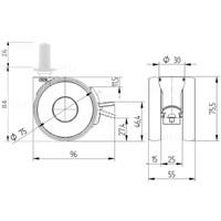 PAPU HIGH wiel 75mm plug rond kunststof 13mm met rem