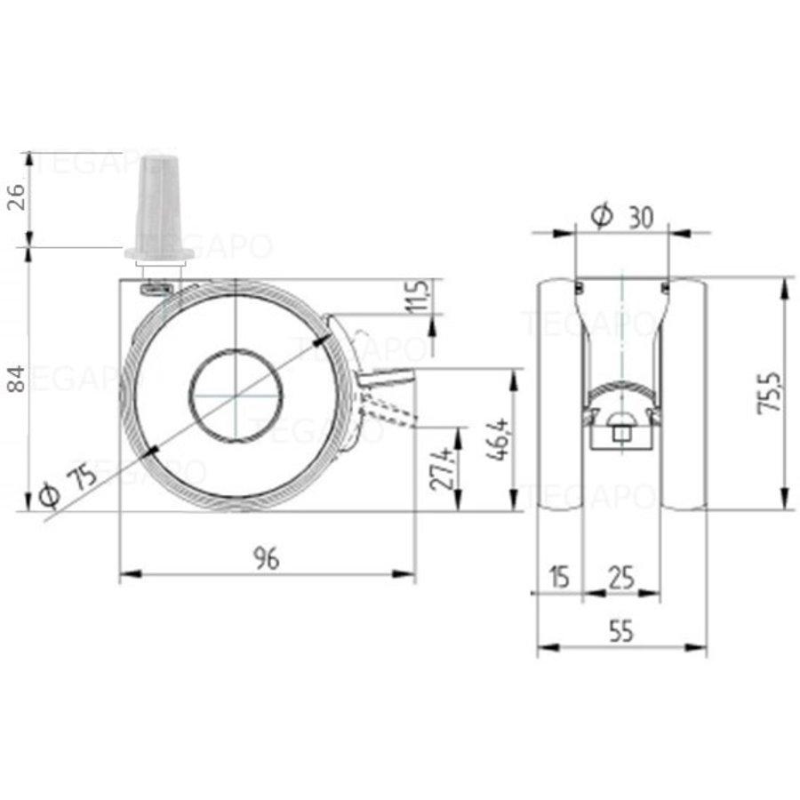 PAPU HIGH wiel 75mm plug rond staal 13mm met rem