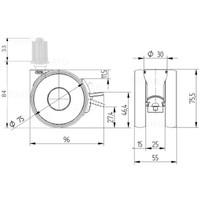 PAPU HIGH wiel 75mm plug vierkant 26mm met rem