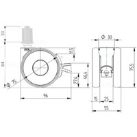 PAPU HIGH wiel 75mm plug vierkant 22mm met rem