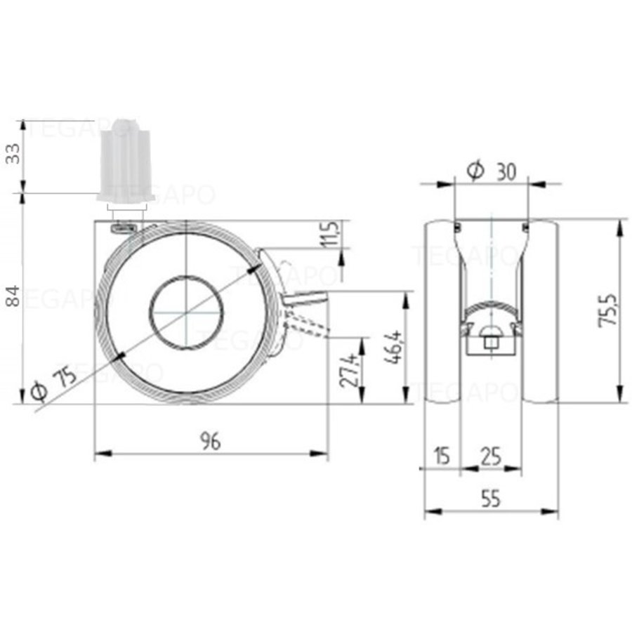 PAPU HIGH wiel 75mm plug vierkant 21mm met rem