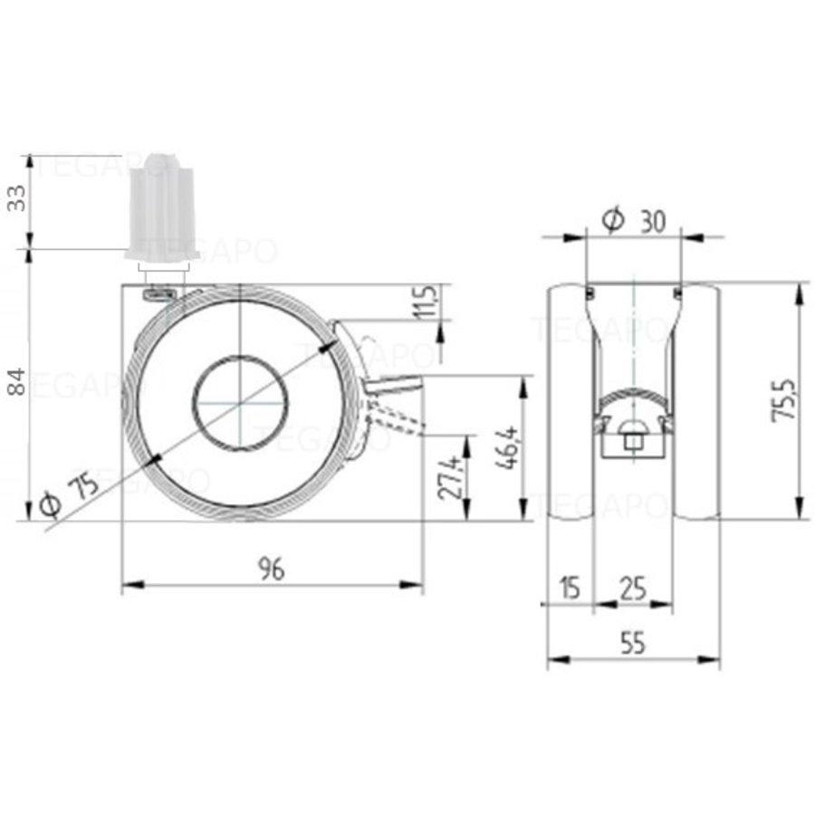 PAPU HIGH wiel 75mm plug vierkant 17mm met rem