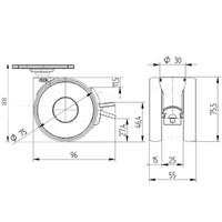 PAPU HIGH wiel 75mm plaat 42x42mm met rem