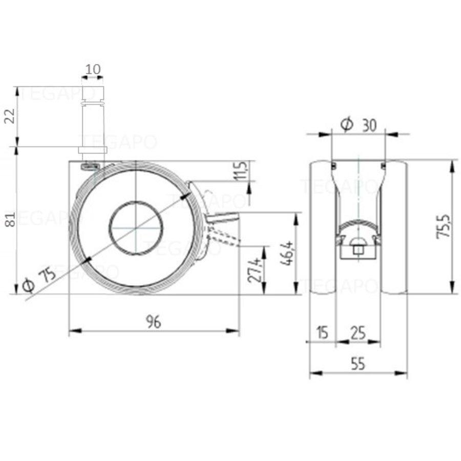 PAPU HIGH wiel 75mm stift 10mm met rem