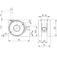 PAPU HIGH wiel 75mm stift 10mm (30) met rem