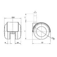 PPTP luxe wiel 50mm stift 10mm