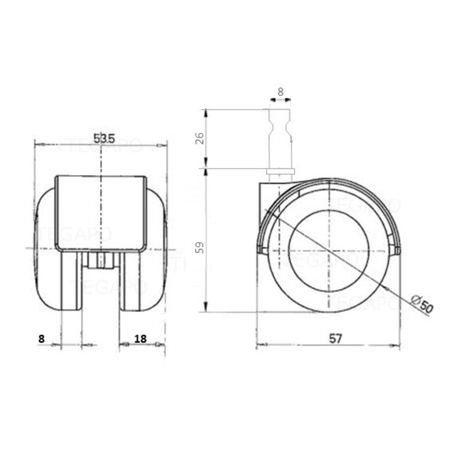 PPTP luxe wiel 50mm stift 8mm