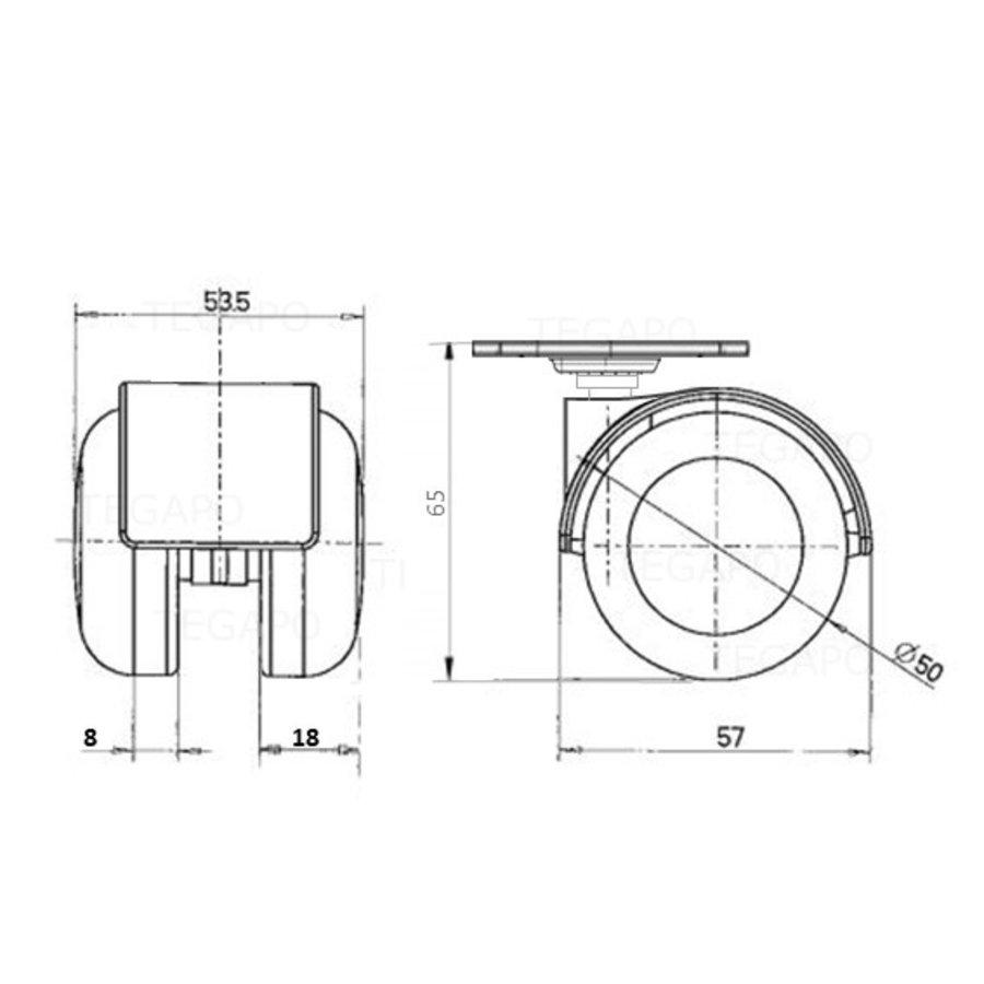 PPTP luxe wiel 50mm plaat 42x42mm